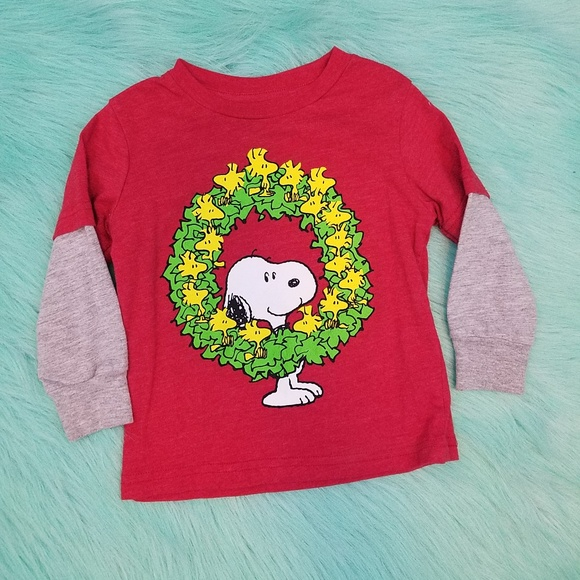 Snoopy Christmas Images.Peanuts 18m Snoopy Christmas Wreath Long Sleeve